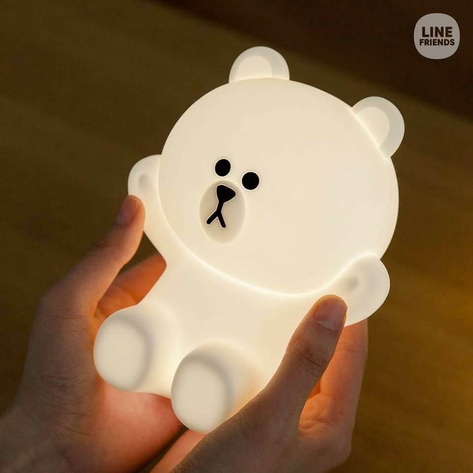line friends gấu đèn ngủ led để bàn