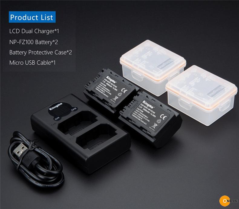 Bộ 2 Pin Kingma FZ100 cho máy ảnh Sony Alpha mẫu mới 2020