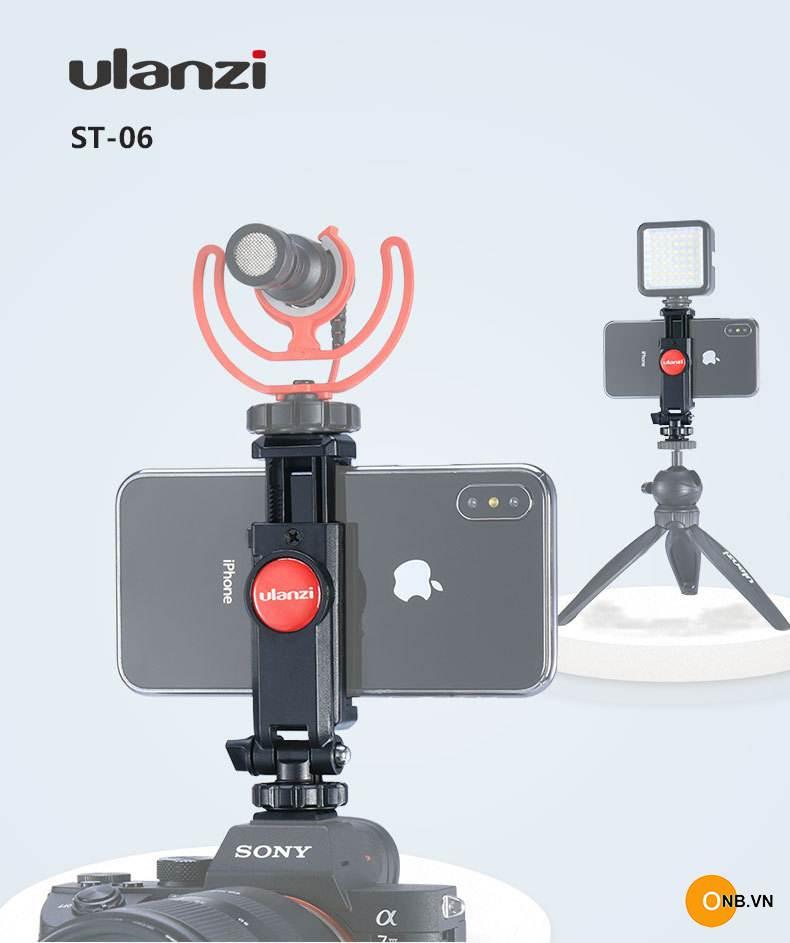 Giá đỡ điện thoại Ulanzi ST-06 gắn cold shoes máy ảnh
