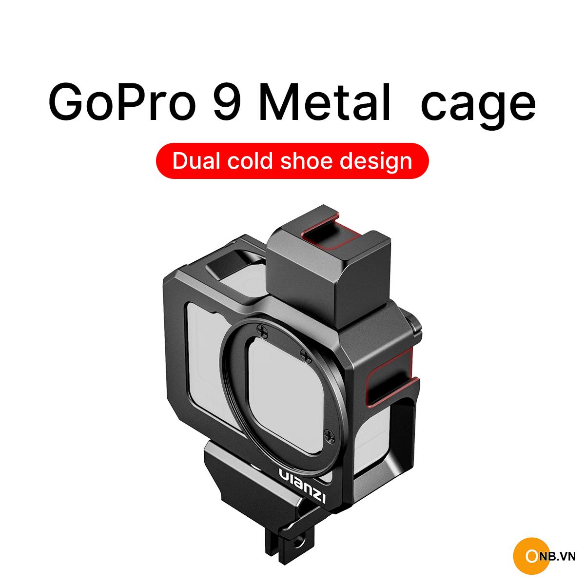 Gopro 10 Gopro 9 Khung Ulanzi kim loại Vlog gắn adapter mic