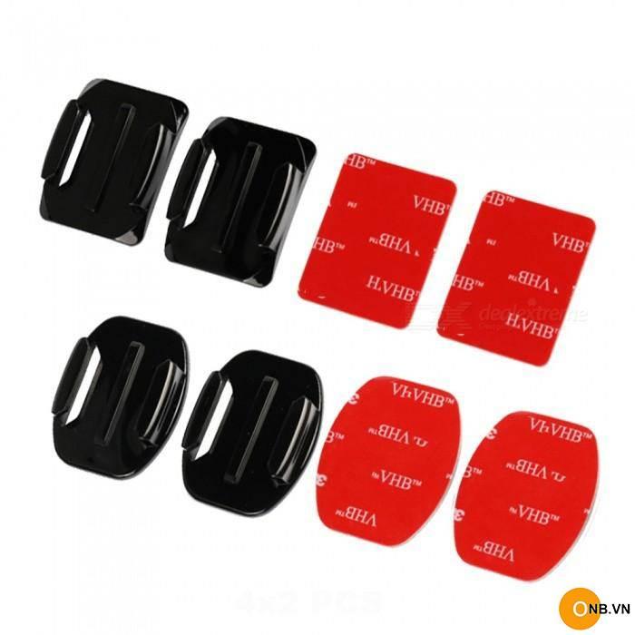 Gopro phụ kiện bộ 4 miếng dán 3M và 4 adapter ngàm gắn nón bảo hiểm