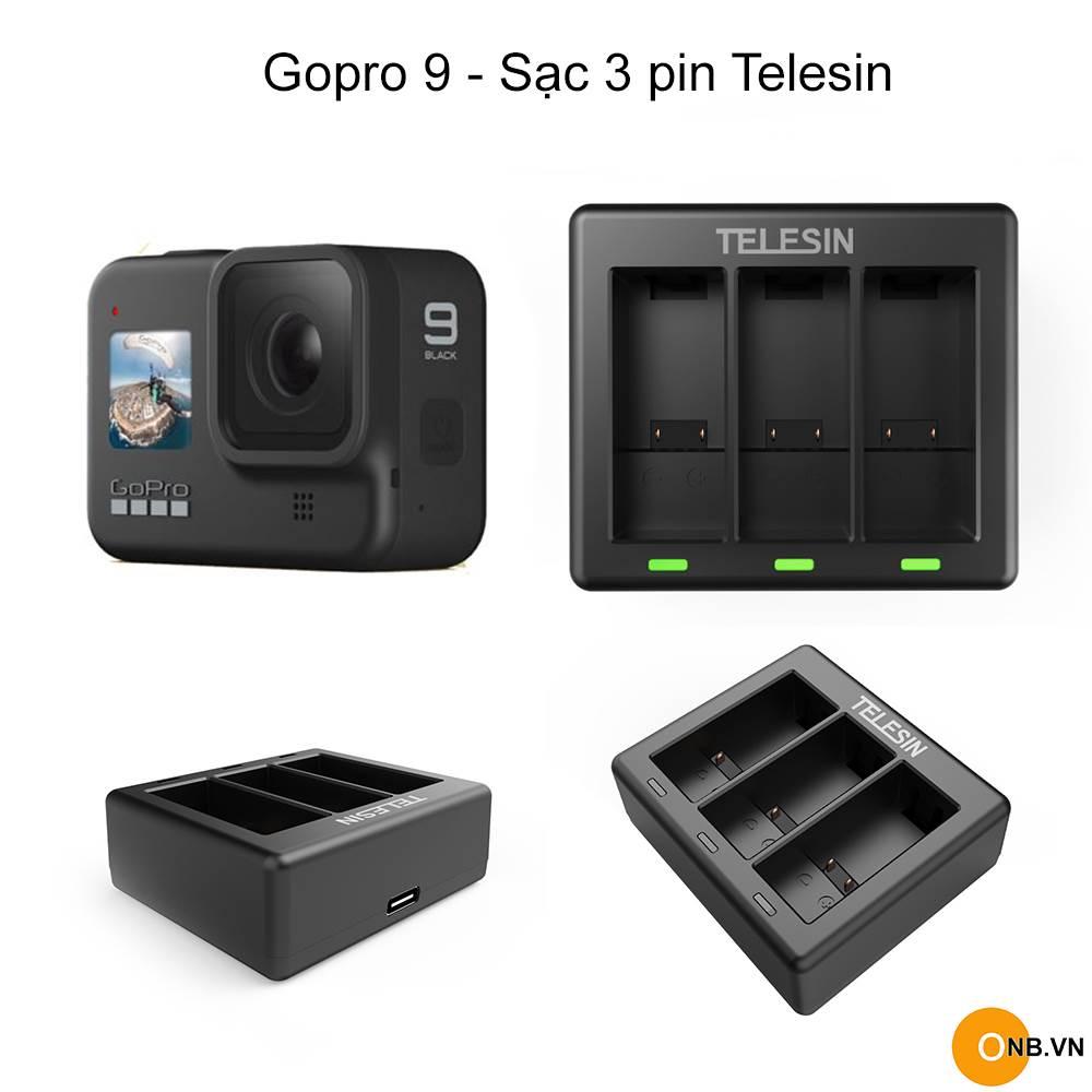 Gopro 9 - Telesin sạc 3 pin mini cổng Type C