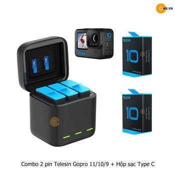 Combo 2 Pin Telesin Gopro 10 và Hộp Sạc Type C