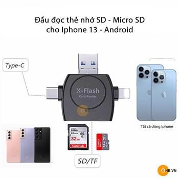 Đầu Đọc Thẻ Nhớ SD cho Iphone 13 các loại và Android