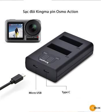 Sạc Kingma đôi cho Osmo Action có LCD hiển thị sạc