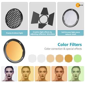 Sử dụng bộ Filter lọc màu , tổ ong, Barndoor trong bộ tảng sáng AK-R1